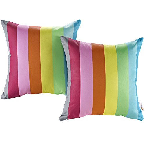 Modway 2 Piece Modway Outdoor Patio Pillow Set, Rainbow (Rainbow Set Seating)
