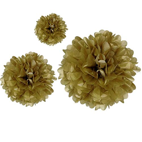 BROSCO Hanging Gold Paper Decor Pom Tissue Paper Flower Ball for Wedding Party Supplies | Size - 4 Inch