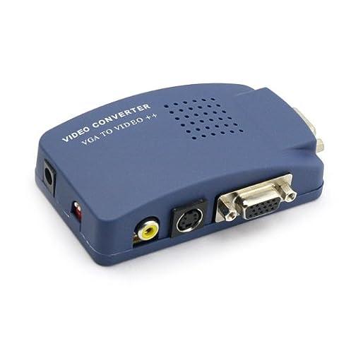 Monoprice VGA to RCA Adapter PC to TV Video Converter- Blue (Jaguar Av Cable)