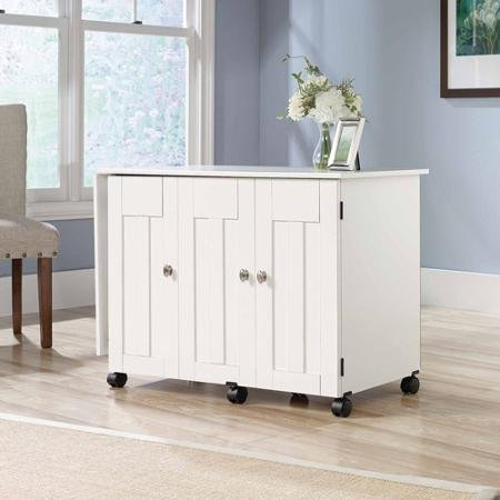 Soft White Sauder Sewing and Craft Table, Multiple Finishes plenty of room for your equipment and accessories by Sauder