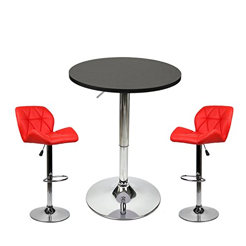 35 Inches Height Pub Table Round Black Mdf Top, with 2 Red Contemporary Chrome Air Lift Barstool Leather Padded Adjustable Swivel (Bar Pub Game Stool)