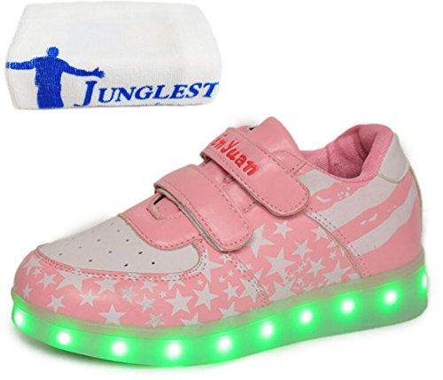 (Present:kleines Handtuch)JUNGLEST® Unisex Junge Mädchen Colorful Farbe LED Leuchtend Aufladen USB Kinderschuhe Paare Schuhe Herbst und Winter Sport schuhe Frei Rose