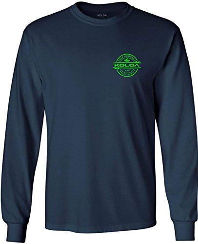 Joe's USA Koloa Surf Thruster Logo Long Sleeve Cotton T-Shirt-Navy/Green-L