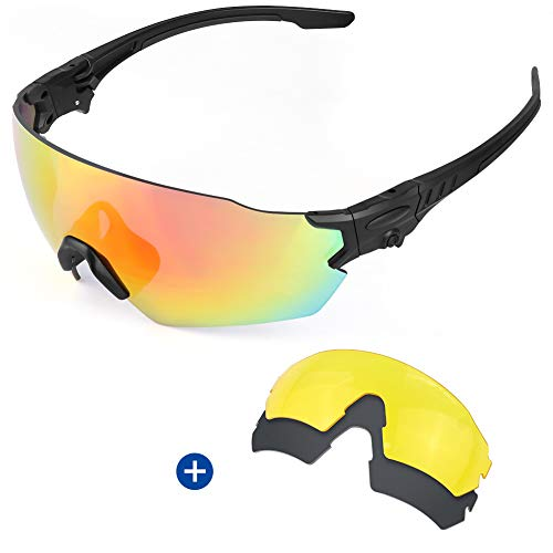 - Fyland Tactical Shooting Safety Glasses, Sports Sunglasses with 3 Interchangeable Lense for Men Women Cycling Running Driving Fishing Golf