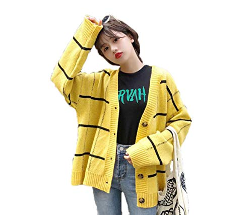 RiHeng レディース ニット カーディガン ファッション vネック かわいい セーター 長袖 ゆったり 無地 ニット セーター アウター 秋 冬