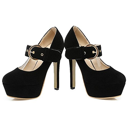 Heel High Taoffen Strap Buckle Shoes Women's Court Black 1xBvFq7
