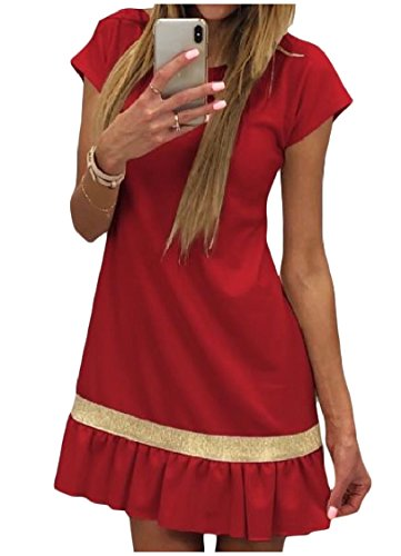 Crewneck Coolred Casual Dresses Sexy Skinny A Red Party Women Splice Line qRxHwRA4rt