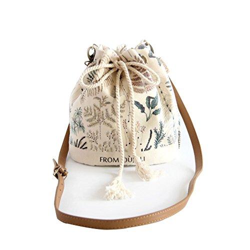 HM&DX Estampado floral lienzo bolsa de cubo para mujeres,Bolso correa bandolera ajustable con cierre de cordón para ir de compras viajes playa picnic excursión de citas-beige Beige