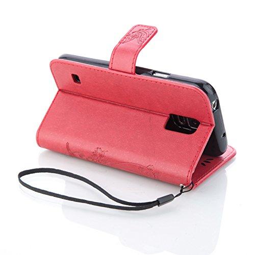 JIALUN-Personality teléfono shell Samsung Galaxy S5 Mini funda, caja de la caja de la mariposa en relieve de las flores caso de la caja de la contraportada de la cartera caja de folio retro de color s Red