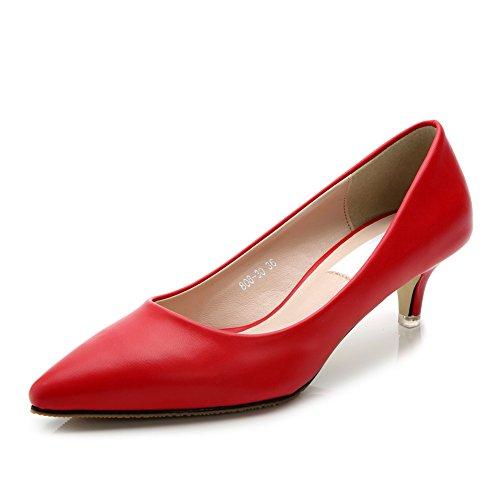 Kitten Pointed Heel JESSI Toe Women's MAIERNISI Matt Dress Pumps Red Classic Shoes RqnWpTxX