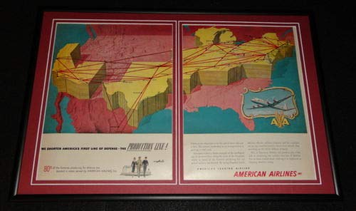 - 1951 American Airlines Framed 12x18 ORIGINAL Advertising Display