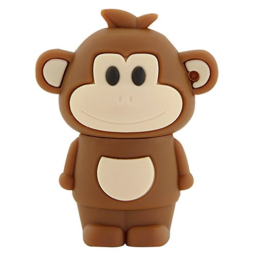 Novelty Creative Cute Chinese Zodiac Monkey Shape 32GB USB 2.0 Flash Drive Cartoon Thumb Drive Memory Stick Pendrive (Brown) (Pen Drive Monkey)
