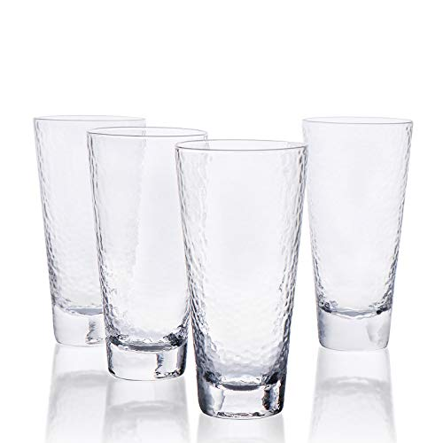 Kanwone Highball Glasses – 15 Ounce Lead-Free Crystal Clear Glass, Elegant Drinking Cups for Water, Juice, Beer…