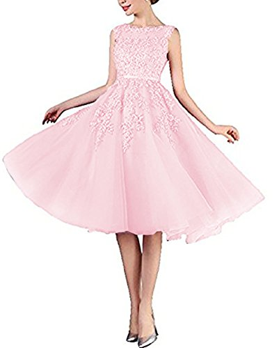 DarlingU Women's Appliqued A-Line Tea Length Cocktail Dresses Homecoming Prom Party Gown Light Pink 20W