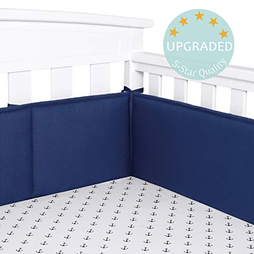 TILLYOU Baby Safe Crib Bumper Pads for Standard Cribs Machine Washable Padded Crib Liner Thick Padding for Nursery Bed 100% Silky Soft Microfiber Polyester Protector de Cuna, 4 Piece/Navy Blue