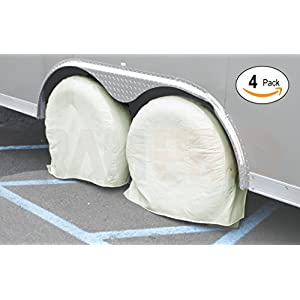 "RAM-PRO 4 Canvas Wheel Covers Set, Heavy Duty 28"" Diameter RV Tire Protector, 8.5"" Wide 