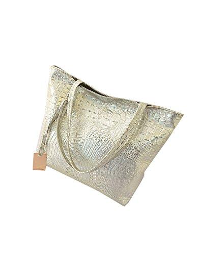 Yy.f Nueva Bolsa De Hombro Gran Patrón De La Moda De Cocodrilo De La Capacidad De Ocio Y Bolsas De Compras Extrínseca Moda Intrínseca Y Práctico Paquete De 3 Colores Silver