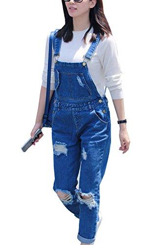 Blu Gladiolusa Strappato Tuta Lunghi Donna Salopette Jeans Estivi Pantaloni 80p8rq