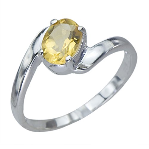 Radiant Genuine Natural Citrine Gemstone Oval Sterling Silver Jewelry Womens Ring