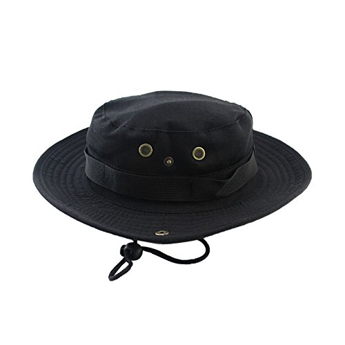 KFSO Sun Hat Men Women, Wide Brim Protection Beach Cap, Breathable Outdoor Boonie Hats Adjustable Drawstring Design, Perfect Hiking, Fishing, Camping, Boating (Black) ()