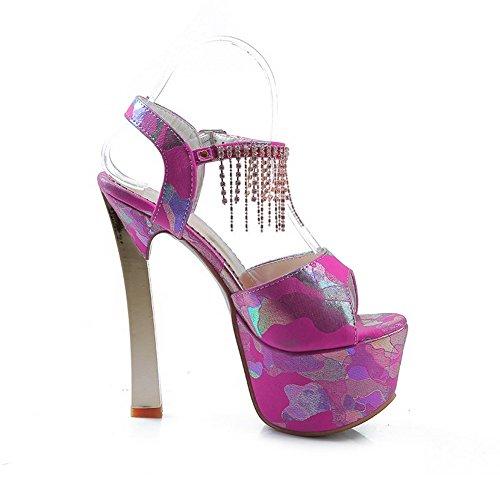 Allhqfashion Mujeres Material Suave Hebilla Peep Toe Tacones Lejanos Sandalias De Colores Surtidos Rojo