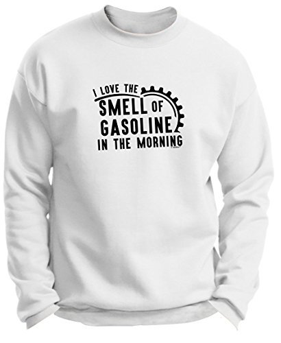 Motocross Gifts Dirt Bike Gifts I Love the Smell of Gasoline in the Morning Premium Crewneck Sweatshirt Small White