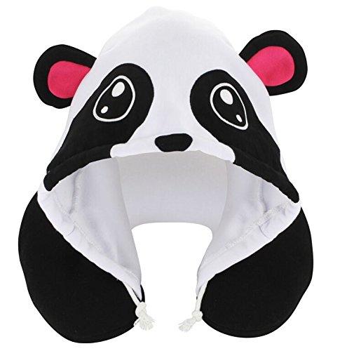 KOVOT Animal Panda Hoodie Travel Pillows, White/Black