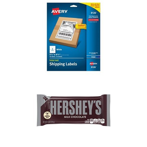 Customize Your Candy Bundle: Hershey's Chocolate Extra Large Bar 4.4 Oz Bar, 12 Pk and Avery Shipping Labels (Printable Candy Wrappers)