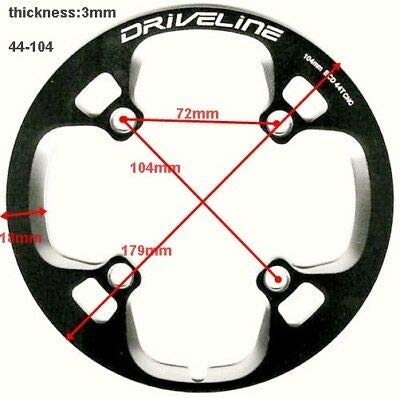 Driveline 44T Bash Guard, Chainring Guard, Chain Cover, BCD104mm CNC (Black) ()