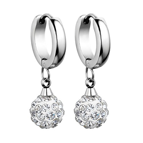 Flongo Stainless Rhinestone Princess Earrings