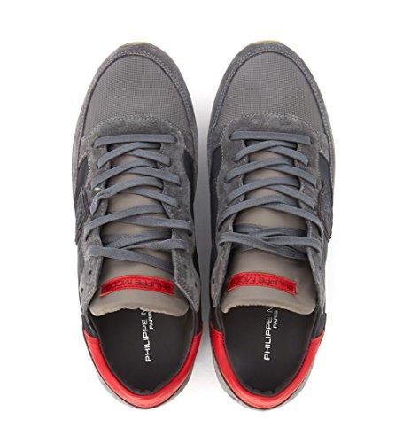 Modello Di Philippe Grigio Sneakers Tropez In Pelle E Camoscio