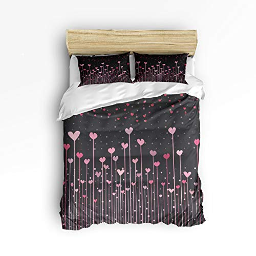 YEHO Art Gallery Twin Size Cute 3 Piece Duvet Cover Sets Home Decor for Kids Adult,Pink Heart-Shaped Black Pattern Happy Valentine's Day,Bedding Set Include 1 Comforter Cover with 2 Pillow Cases