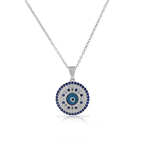 925 Sterling Silver White Blue CZ Evil Eye Protection Pendant Necklace - Evil Eye Silver Necklace Pendant