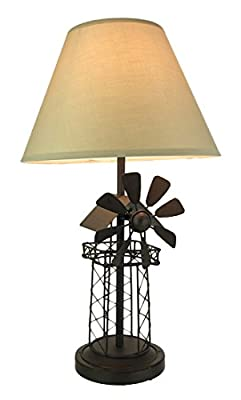 Metal Table Lamps Rustic Brown Industrial Windmill Metal Table Lamp 12.5 X 21.5 X 12.5 Inches Brown