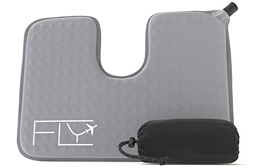 Coccyx Cut Out (Seat Cushion - Self-Inflating with Travel Storage Bag - Large 17x12in - Coccyx Cutout for Ultra Comfort and Lower Back Pain Relief - Perfect for Flying, Driving, Office Use and More)