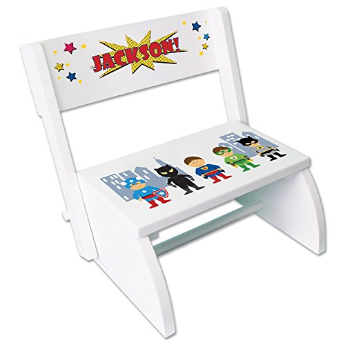 Personalized Boys Super Hero Childrens and Toddlers White folding stool by MyBambino