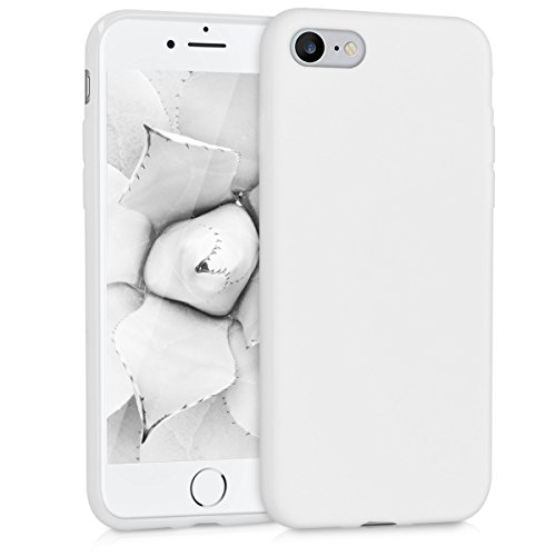 (kwmobile TPU Silicone Case Compatible with Apple iPhone 7/8 - Soft Flexible Protective Phone Cover - White Matte)