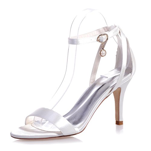 High Shoes Satin 9920 Heels Casual Night Night amp; Wedding Peep Women's White 04 Pendant L YC Toe amp; xqCwn6SYIU
