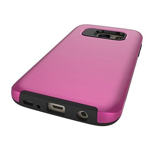 Wkae Simple cepillado textura 2 en 1 PC + TPU Combinación funda protectora para Samsung Galaxy S6 / G920 ( Color : Rose gold ) Magenta