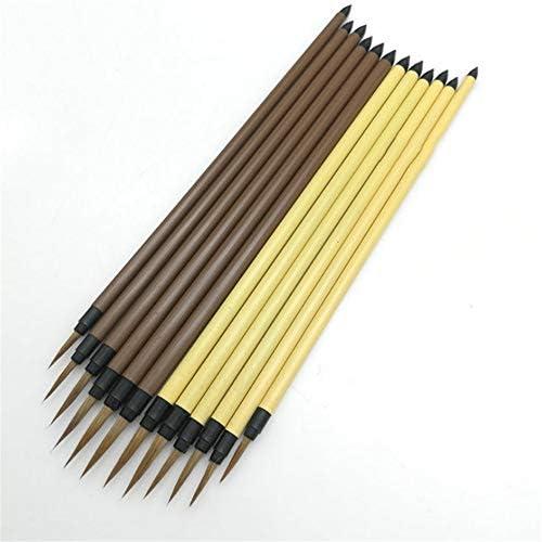 絵筆 アクリル画アーティストのためのブラッシュウッドヘンデルイタチ髪の異なるサイズのフックラインのペン絵画オイルセットペイント 複数のサイズとお楽しみください (色 : 褐色, Size : M)