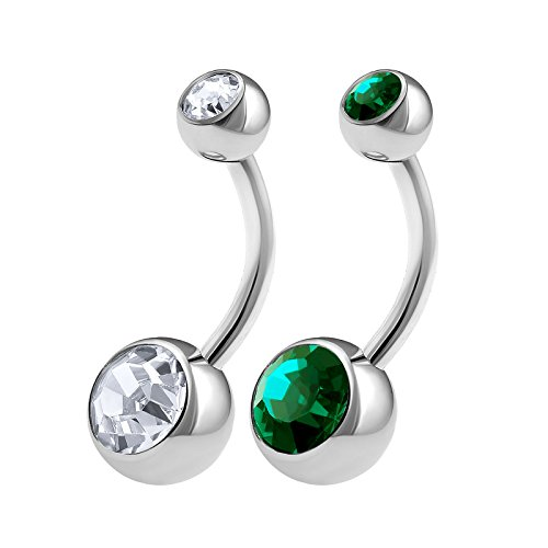 Emerald Belly Button Ring - 2