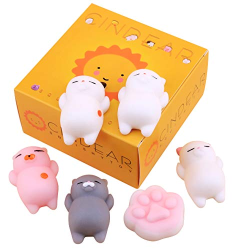 CINDEAR Mochi Squishy Cat, 6 Pcs Mochi Squishy Toys Stress Relief Animal Squishies Mini Cat Squishy Animals Squeeze Toys Mochi Kawaii Squishies(5 Cats + 1 Cat Paw), Best Gifts for -