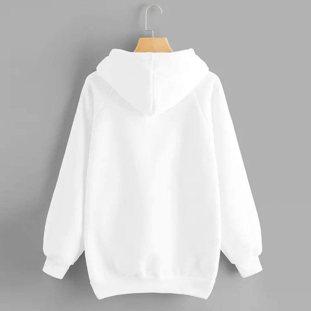 Hoodies for Women Pullover,Womens Long Sleeve Solid Color Pullover Fleece Hoodie Sweatshirt Tops