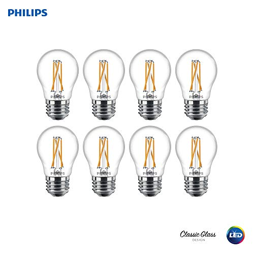 (Philips 536649 LED Dimmable A15 Clear Filament Glass Light Bulb with Warm Glow Effect: 500-Lumens, 2700-2200 Kelvin, 5.5 (60-Watt Equivalent), E26 Medium Screw Base, 8 Pack,)