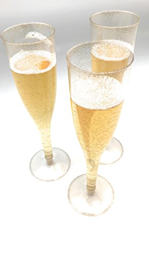 30pc Clear Plastic With Gold Glitter Classicware Glass Like Champagne Wedding Parties Toasting Flutes by Oojami (Image #6)