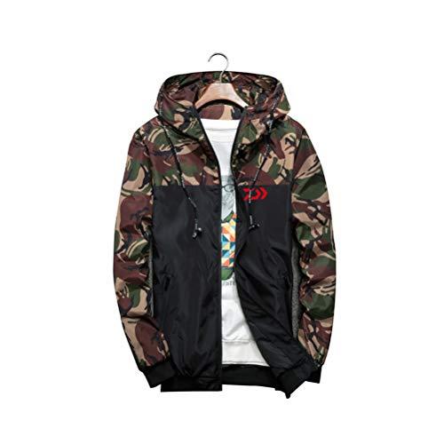 YOTONG Men's Camouflage Bomber Jacket Hoodies Zip Military Hooded Coat Windbreaker Outwear Slim Fit Style1 Army Green L (Army Zip Hoodie)