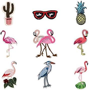 Parches de dibujos animados, 9 piezas, rosa, flamenco, helado ...