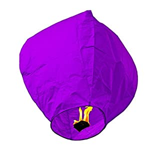Mojing Chinese Paper Lanterns Flying,Wish Lights with 10g Candle Fuel Resistance - 10 pack (purple)