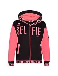 Kids Girls Jacket #Selfie Embroidered Neon Pink Zipped Top Hooded Hoodie 5-13 Yr