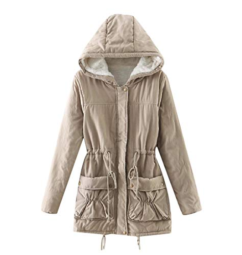 Color Khaki Padded Hooded Slim Womens Sankt Cotton Drawstring Overcoat Solid fwxS8ztRq